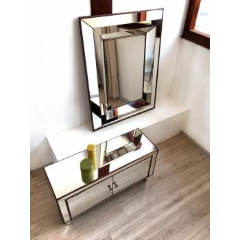 Зеркало в зеркальной раме Poissy Состаренное золото