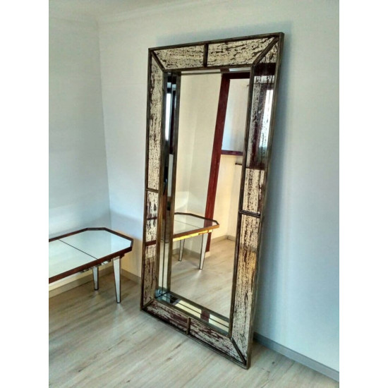 Зеркало большое напольное и настенное в полный рост Saint-Denis Состаренное серебро в интернет-магазине ROSESTAR фото