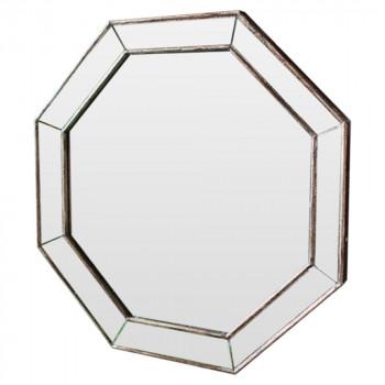 Зеркало восьмиугольное в раме Antique base Состаренное серебро