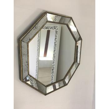 Зеркало восьмиугольное в раме состаренное серебро Antique colossal