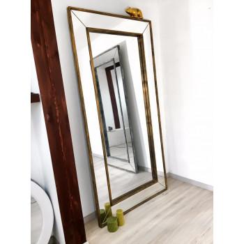 Зеркало большое напольное и настенное в полный рост в зеркальной раме Lorenzo Состаренное золото