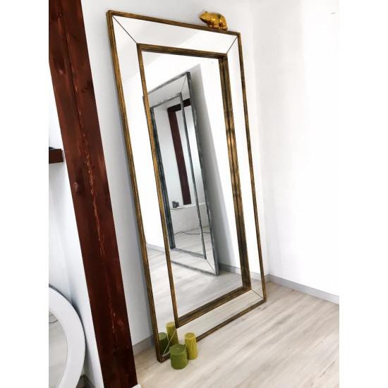 Зеркало большое напольное и настенное в полный рост в зеркальной раме Lorenzo Состаренное золото в интернет-магазине ROSESTAR фото
