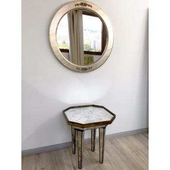 Круглое зеркало в серебряной раме Nicole