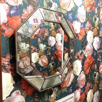 Зеркало восьмиугольное в серебряной раме Angelique