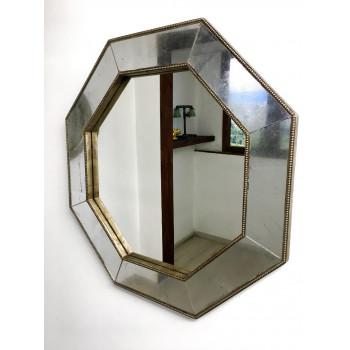 Зеркало восьмиугольное в зеркальной раме Patrick Серебро