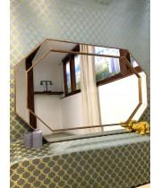 Зеркало восьмиугольное в золотой зеркальной раме Henri