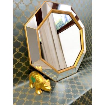 Зеркало восьмиугольное в золотой раме Espresso Gold