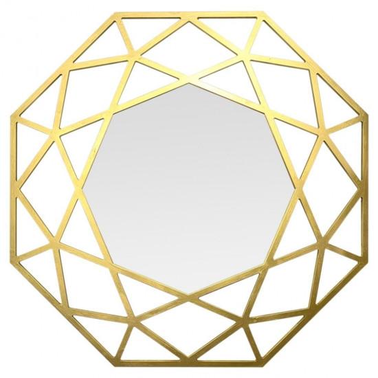 Зеркало восьмиугольное в раме цвета Латунь Tissue в интернет-магазине ROSESTAR фото