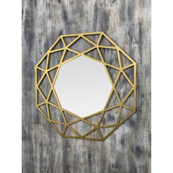 Зеркало восьмиугольное в раме цвета Латунь Tissue