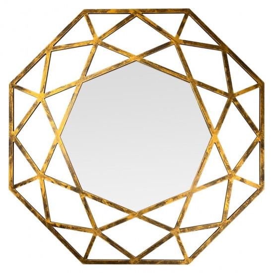 Зеркало восьмиугольное в золотой раме Tissue в интернет-магазине ROSESTAR фото