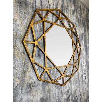 Зеркало восьмиугольное в золотой раме Tissue