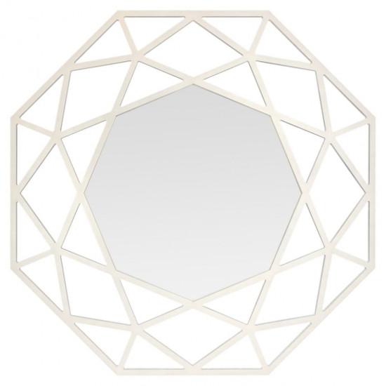Зеркало восьмиугольное в белой раме Tissue White в интернет-магазине ROSESTAR фото