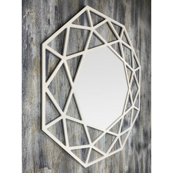 Зеркало восьмиугольное в белой раме Tissue White