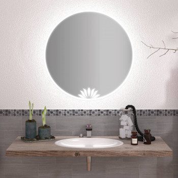 Круглое зеркало с подсветкой Лилия