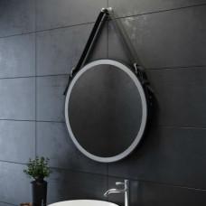 Круглое капитанское зеркало на кожаном ремне со светодиодной LED-подсветкой