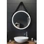 Круглое капитанское зеркало на кожаном ремне со светодиодной LED-подсветкой  в интернет-магазине ROSESTAR фото 1