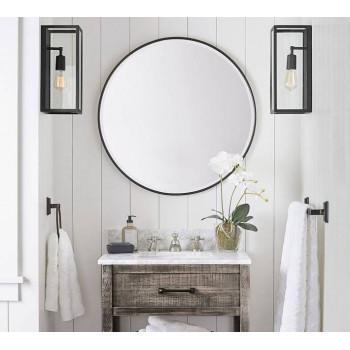 Круглое зеркало в черной раме Эва