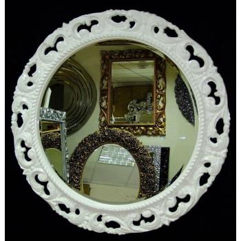 Круглое зеркало в раме «Мишель» Белое