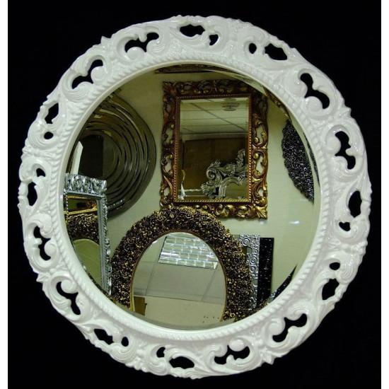 Круглое зеркало в раме «Мишель» Белое в интернет-магазине ROSESTAR фото