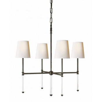 Потолочный подвесной светильник с 4-мя белыми плафонами Дэмиан Чёрный