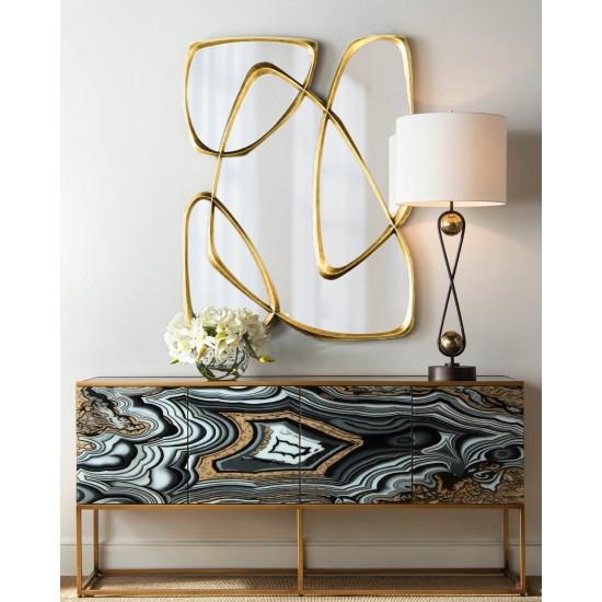 Дизайнерское стильное оригинальное зеркало Луар в фигурной золотой раме в интернет-магазине ROSESTAR фото