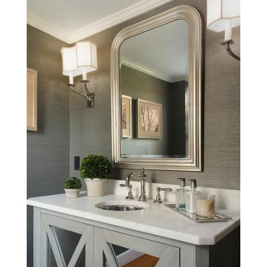 """Зеркало настенное дизайнерское в раме """"Луи-Филипп"""" Серебро в интернет-магазине ROSESTAR фото"""