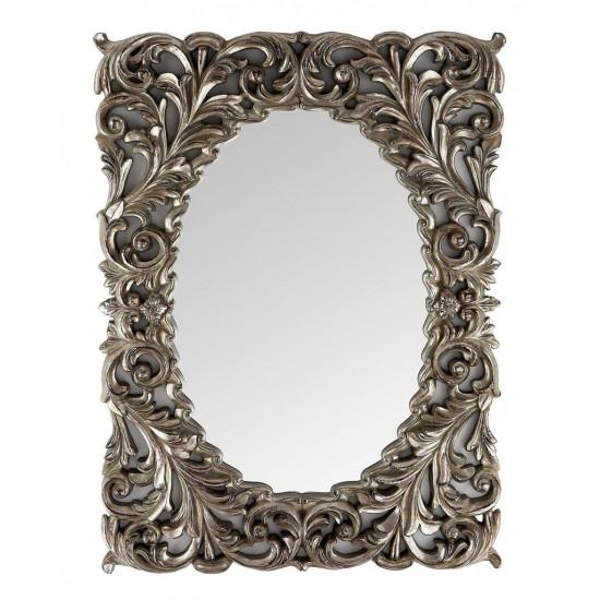 Зеркало дизайнерское настенное в раме Массимо Серебро