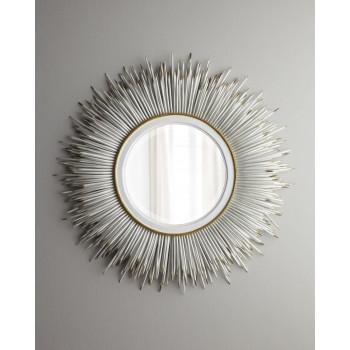 Круглое настенное зеркало в раме с перьями Ларс Белое