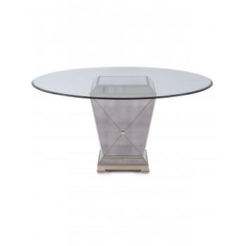 Круглый зеркальный обеденный стол со столешницей из стекла Мортимер
