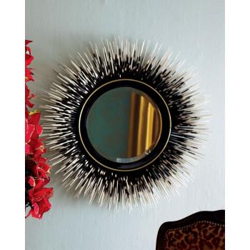 Круглое настенное зеркало в раме с перьями Ларс Черное