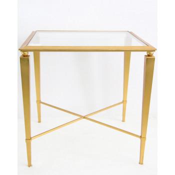 Приставной золотой столик со стеклянной столешницей Мауро