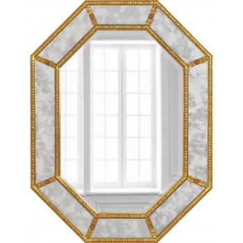 Дизайнерское красивое зеркало настенное Ньюпорт Золото