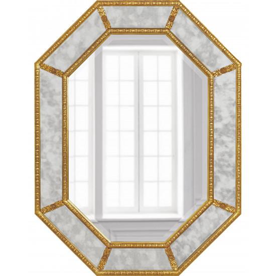 """Дизайнерское красивое зеркало настенное """"Ньюпорт"""" Золото в интернет-магазине ROSESTAR фото"""
