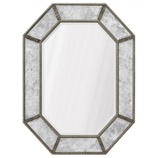 """Дизайнерское интерьерное зеркало в раме """"Ньюпорт"""" Серебро в интернет-магазине ROSESTAR фото"""