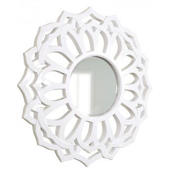 Зеркало круглое настенное в белой раме Коул