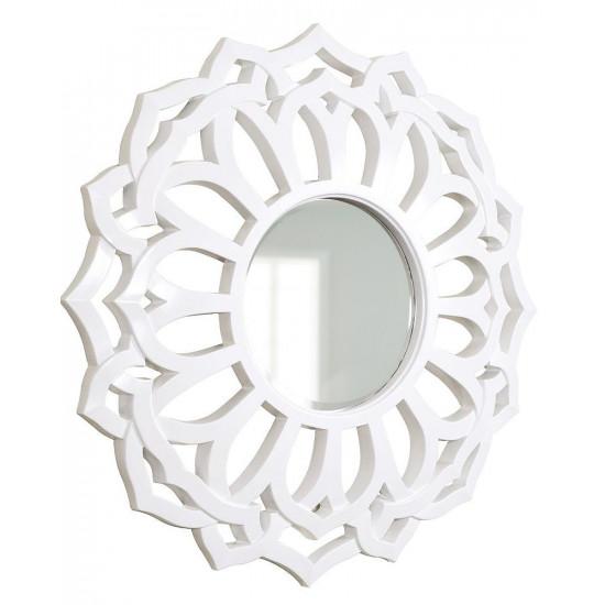 Зеркало круглое настенное в белой раме Коул в интернет-магазине ROSESTAR фото