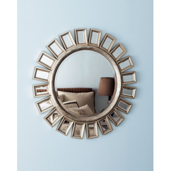 Зеркало круглое настенное Эштон Серебро
