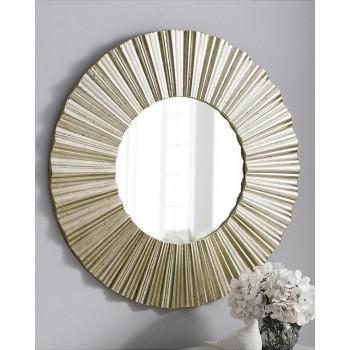 Зеркало круглое настенное в серебряной раме Летиция