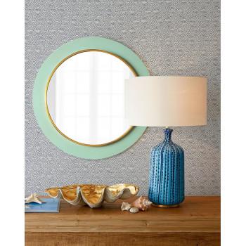 Зеркало настенное в круглой бирюзовой раме Минди