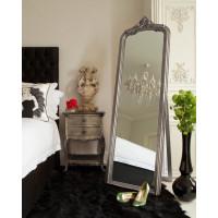 Серебряное напольное зеркало на подставке Стентон