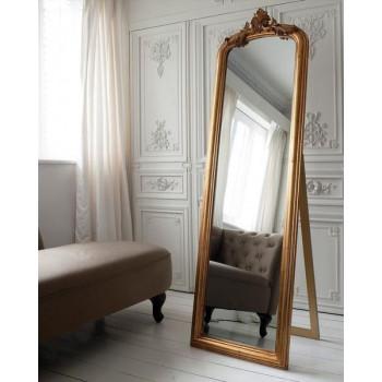 Золотое напольное зеркало на подставке Стентон