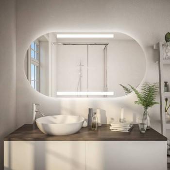 Овальное зеркало-капсула с подсветкой Норма Горизонтальное