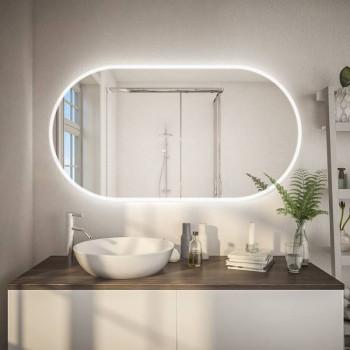 Овальное настенное зеркало с подсветкой Селла Горизонтальное