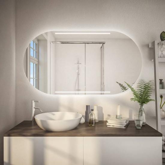 Овальное зеркало с подсветкой Симона Горизонтальное в интернет-магазине ROSESTAR фото