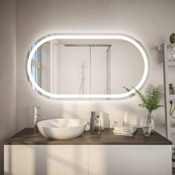 Овальное настенное зеркало с подсветкой София Горизонтальное