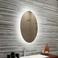 Овальное настенное зеркало со светодиодной LED-подсветкой Лаура