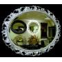 Овальное настенное зеркало в раме «Азалия» Серебро