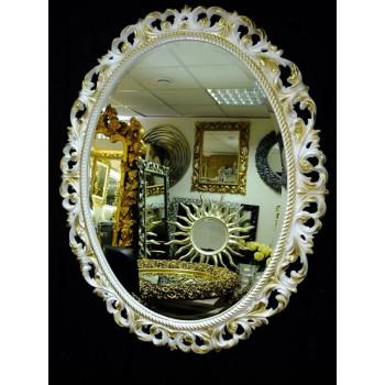 Овальное настенное зеркало в раме «Азалия» Слоновая кость с Золотом