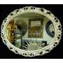 Овальное настенное зеркало в раме «Азалия» Слоновая кость с Золотом в интернет-магазине ROSESTAR фото 1