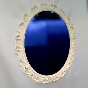 Овальное настенное зеркало в раме «Азалия» Белое